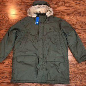Men's Adidas PAD Fur Parka Jacket Hooded Long Sz Medium Olive Green Trefoil Logo